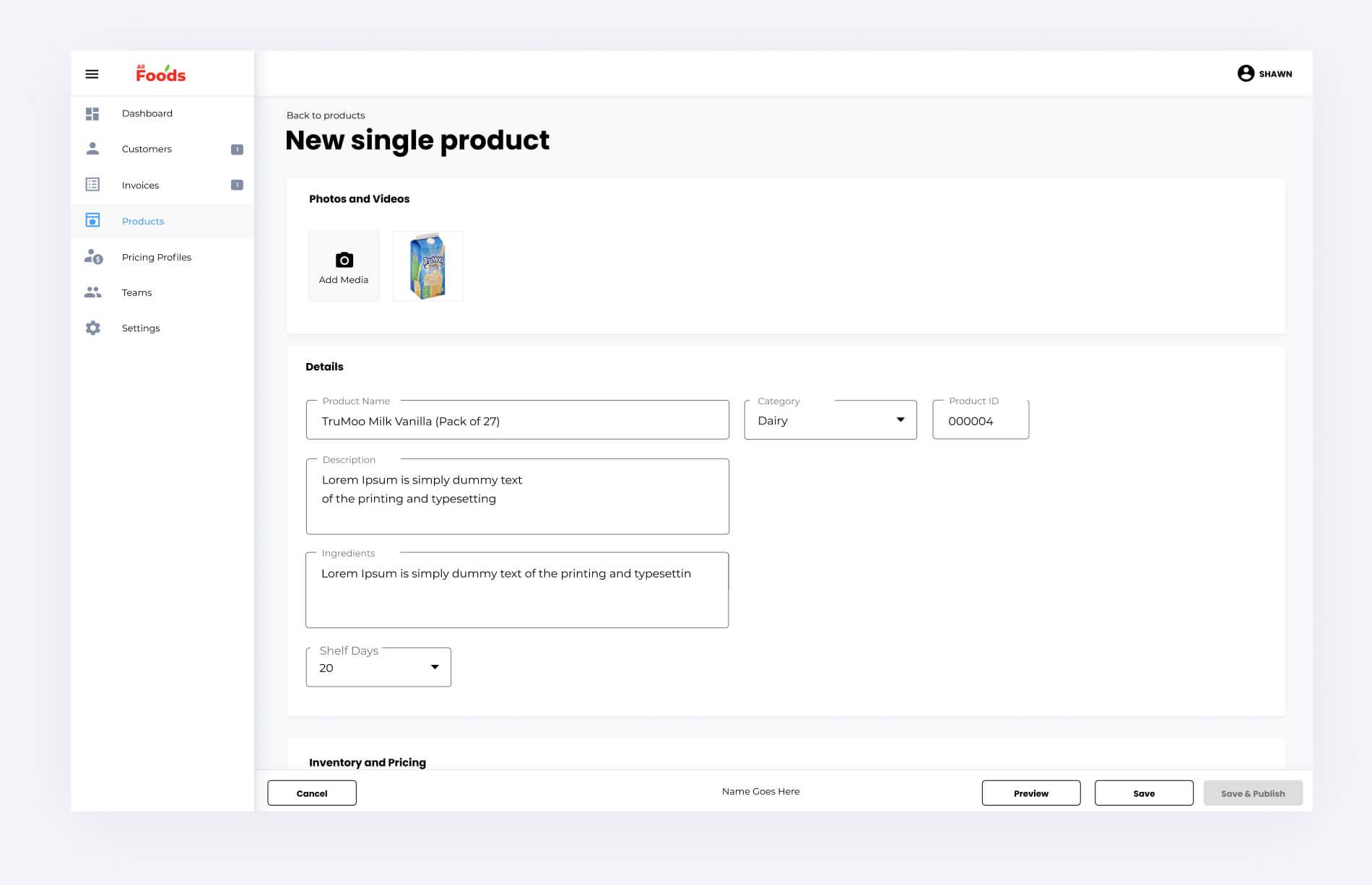 Upload product
